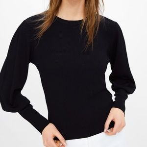 Zara Sweater with Puff Sleeves Black S NWT